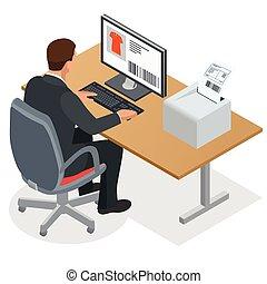平ら, 等大, 仕事, work., ラップトップ, screen., イラスト, 見る, ベクトル, computer., 人, ビジネスマン, china., 順序, 3d