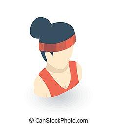 平ら, 等大, 健康, 若い, ベクトル, avatar, 女, icon., スポーツ, 3d