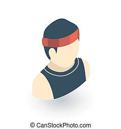 平ら, 等大, 動くこと, ベクトル, icon., スポーツマン, 3d