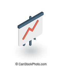 平ら, 等大, 成功, グラフ, の上, チャート, ベクトル, 成長, 矢, icon., 市場, 3d