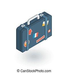 平ら, 等大, 手荷物, 旅行袋, ベクトル, whith, スーツケース, icon., ステッカー, 3d