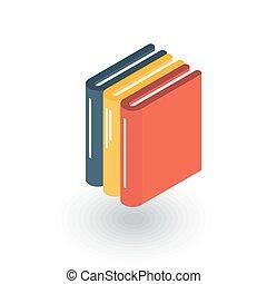 平ら, 等大, 文学, 図書館, 本, ベクトル, icon., 教育, 3d
