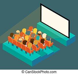 平ら, 等大, 映画館, audience., スクリーン, スタイル, 空