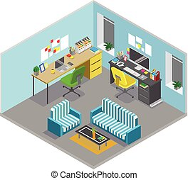 平ら, 等大, 概念, オフィス, 床, room., 抽象的, 部, vector., 内部, workspace...