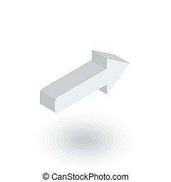 平ら, 等大, 権利, ベクトル, 矢, icon., 3d