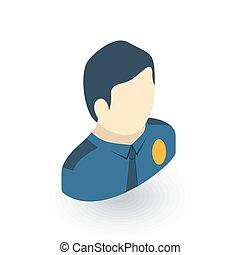 平ら, 等大, 警官, ベクトル, avatar, icon., 3d