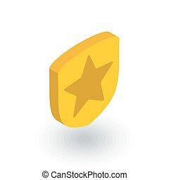 平ら, 等大, 警察, ベクトル, whith, 星, icon., バッジ, 3d