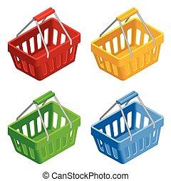 平ら, 等大, 買い物, illustration., カラフルである, basket., set., イラスト, バックグラウンド。, ベクトル, バスケット, 白, アイコン, 3d