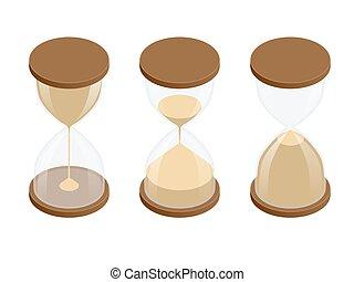 平ら, 等大, illustration., 時計, 砂時計, コレクション, バックグラウンド。, 砂, ベクトル, 白, 3d