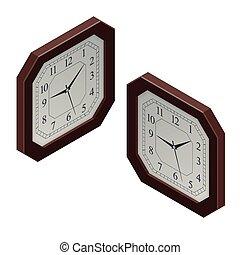 平ら, 等大, illustration., 時計, concept., ベクトル, デザイン, 3d