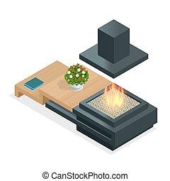 平ら, 等大, illustration., 現代, 3d, 暖炉, design.