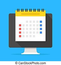 平ら, 管理, コンピュータ, スケジュール, 現代, screen., イラスト, 立案者, ベクトル, 計画, ミーティング, 時間, オンラインで, カレンダー, 議題, concepts., design.