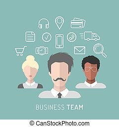 平ら, 管理, ビジネス 実例, ベクトル, チーム, style.