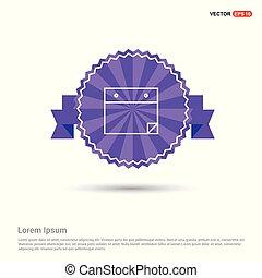 平ら, 紫色, メモ用紙, -, デザイン, アイコン, 旗, リボン