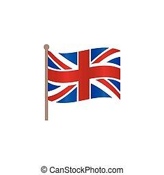 平ら, 組合, 英国, 旗, ベクトル, ジャッキ, アイコン