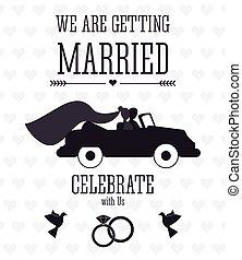 平ら, 結婚されている, イラスト, 結婚式, icon., design.