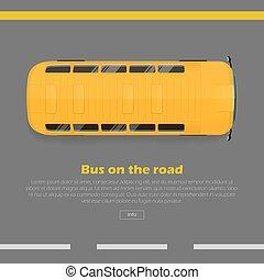 平ら, 網, バス, ベクトル, 概念, 旗, 道