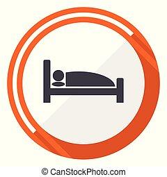平ら, 網, ボタン, ホテル, 隔離された, ラウンド, バックグラウンド。, ベクトル, デザイン, インターネット, オレンジ, 白, icon.