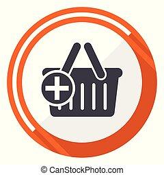 平ら, 網, ボタン, 隔離された, カート, ラウンド, バックグラウンド。, ベクトル, デザイン, インターネット, オレンジ, 白, icon.