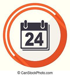 平ら, 網, ボタン, 隔離された, バックグラウンド。, ベクトル, デザイン, icon., カレンダー, インターネット, オレンジ, 白, ラウンド