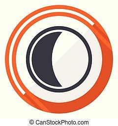 平ら, 網, ボタン, 隔離された, 月, バックグラウンド。, ベクトル, デザイン, インターネット, オレンジ, 白, icon., ラウンド