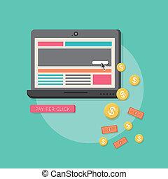 平ら, 網, マーケティング, につき, デザイン, 給料, クリック