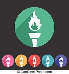 平ら, 網, 火, シンボル, トーチ, 印, 炎, ロゴ, ラベル, アイコン