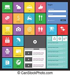 平ら, 網, 要素, デザイン, ボタン