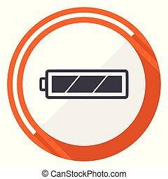 平ら, 網, 電池, ボタン, 隔離された, ラウンド, バックグラウンド。, ベクトル, デザイン, インターネット, オレンジ, 白, icon.