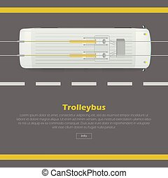 平ら, 網, trolleybus, ベクトル, 概念, 旗, 道