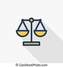 平ら, 線である, カラフルである, スケール, 正義, シンボル。, 長い間, シンボル, 色, ベクトル, 薄くなりなさい, icon., 影, 法律, 線, design.
