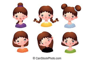 平ら, 美顔術, ベクトル, セット, イラスト, 女の子, 別, 漫画, expressions., style.
