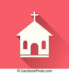 平ら, 聖域, マーケティング, pictogram, 単純である, 教会, イラストビジネス, モビール, ベクトル, 長い間, 背景, インターネット, icon., app, shadow., 赤