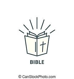 平ら, 聖書, アウトライン, 印, イラスト, シンボル, 概念, vector., アイコン, 線