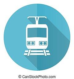 平ら, 背景, ベクトル, 青, ボタン, 白, 網, 隔離された, 列車, ラウンド, アイコン, デザイン