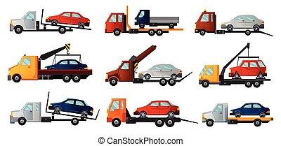 平ら, 自動車, ∥あるいは∥, 援助, 車, 自動車, 道, trucks., 修理, 涼しい, トラック, 壊される, 牽引, 回収された, cars., towing, サービス, コレクション, 傷つけられる