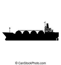 平ら, 自然, gas., ガス, 隔離された, イラスト, ship., ベクトル, デザイン, 運搬人, lng, タンカー, アイコン