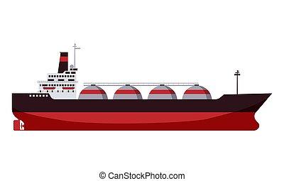 平ら, 自然, gas., ガス, 隔離された, イラスト, ship., ベクトル, デザイン, 運搬人, lng, タンカー, 漫画