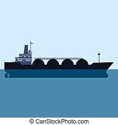 平ら, 自然, gas., ガス, 隔離された, イラスト, ship., ベクトル, デザイン, 運搬人, lng, タンカー