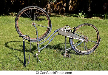 平ら, 自転車, 古い, タイヤ