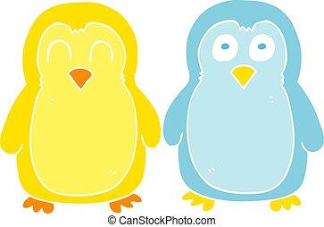 平ら, 色, イラスト, 漫画, 手を持つ, 鳥