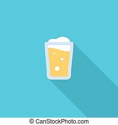 平ら, 色, シンボル。, イラスト, ビール, ベクトル, 長い間, shadow., アイコン