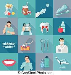 平ら, 色, 影, 歯医者の, アイコン