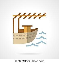 平ら, 色, 着陸, ベクトル, デザイン, ボート, アイコン