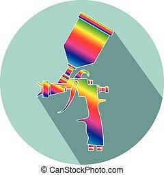 平ら, 色, 銃, ペンキ, スプレー, デザイン, アイコン