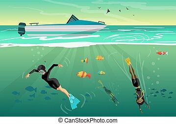 平ら, 若い, イラスト, ダイバー, ベクトル, 海, 下に, 漫画, 女性, 飛び込み, スキューバ, sunset.