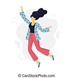 平ら, 葉書, 女, 旗, ありなさい, 抽象的, 招待, ウェブサイト, design., ファッション, 使われた, 缶, ads., joy., 女の子, 美しい, ∥あるいは∥, 跳躍