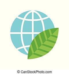 平ら, 葉, 地球, 緑, デザイン, アイコン