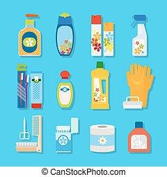 平ら, 衛生, プロダクト, 清掃, アイコン