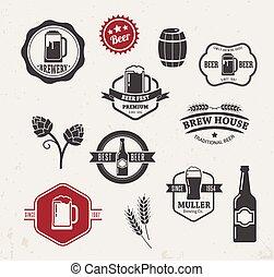 平ら, 要素, アイコン, コレクション, ビール, ベクトル